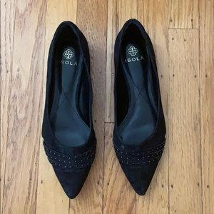 Isola black suede studded flats 7